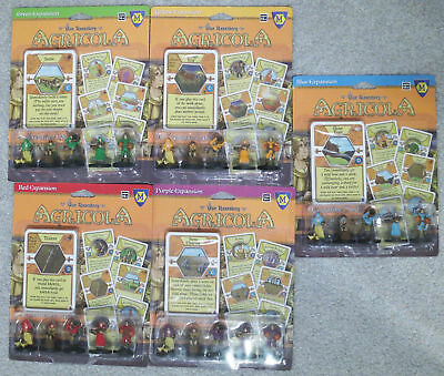 Agricola: Green, Yellow, Red, Purple, Blue expansion. Combine shipping!