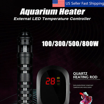 100-800W Aquarium LED Heater Fish Tank Water Submersible Adjustable Thermostat