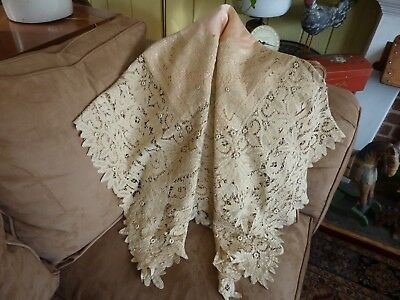 Antique Victorian Silk & Brussels Tape Lace Coverlet,Throw,Tablecloth,Blanket