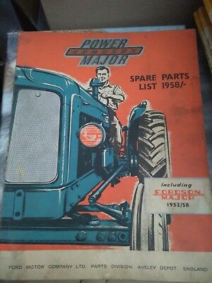 Catalogue Power Fordson Major Spare Parts 1958 Included 1952/58