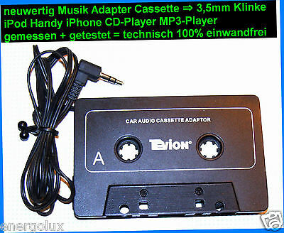 🎵Tonkopf Autoradio Kasette Adapter⇒3,5mm iPhone Handy MP3 CD Radio Cassette