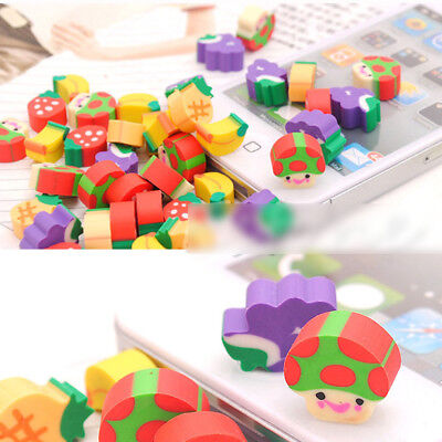 10/50Pcs Mini Cute Fruit Rubber Eraser Stationery Office Student Kids Gift Toy