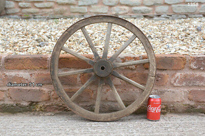 Vintage old wooden cart wagon wheel  / 51 cm - FREE DELIVERY