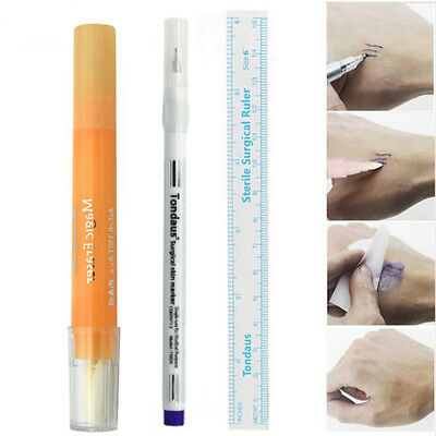 3pcs Eyebrow Tattoo Skin Marker Pen + Measure Ruler + Magic Eraser Remover Brush