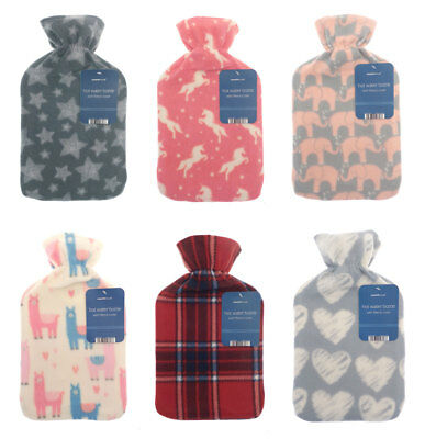 Luxury Printed Warm Fleece 2 Litre Hot Water Bottles Various Designs