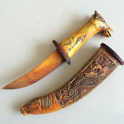 Collectible Old Handwork Tibet B0ne Carved Horse Head Sword Dragon Decor knife