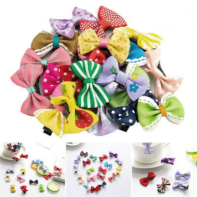20Pcs Kids Baby Girls Mixed Color Cute Dot Bowknot Hair Clips Set Hairpin Superb