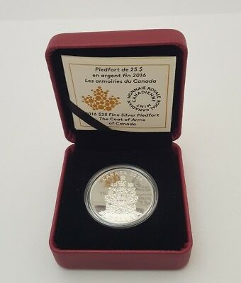 2016 Canada Coat of Arms $25 1oz Silver Piedfort Coin Boxed & with Coa