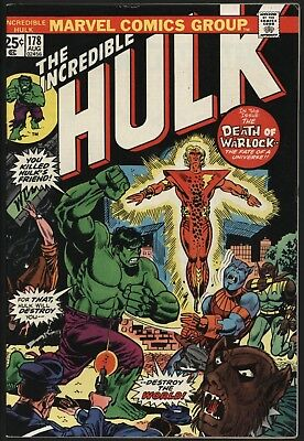 Incredible Hulk #178 Death Of Warlock  Nice Original Owner Cents  White Pages