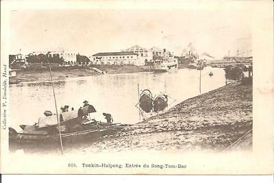 Carte Postale Chine Tonkin  Haiphong  Transport  Vers  1900 Entree Song Tom Bac
