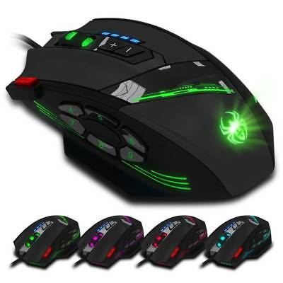 Wired Gaming Mouse 8 Button Adjust 9200DPI Optical USB LED Backlit For Computer