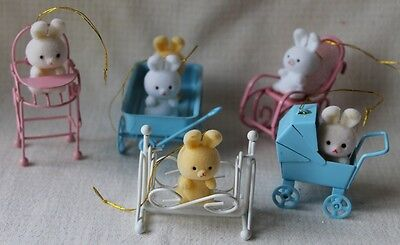 Lot Of 5 Vintage Avon Teddy  Bunny Easter Ornament Gift Collection
