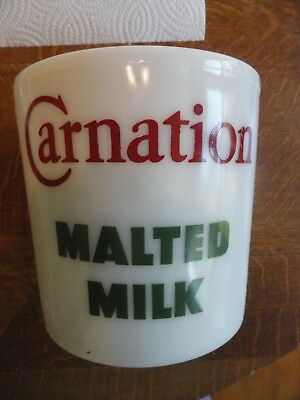 """Old """"CARNATION MALTED MILK""""  Drug Store Counter Container/Jar/Canister - No Lid"""
