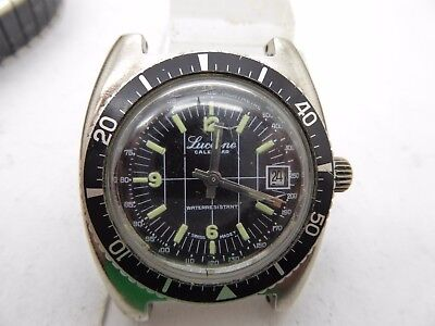 Vintage Lucerne Calendar Luminous Dial Swiss Made Diver Watch