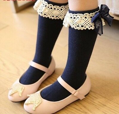 Girls Socks Children Knee High With Lace Legs Warmers Cotton Princess Style Wear