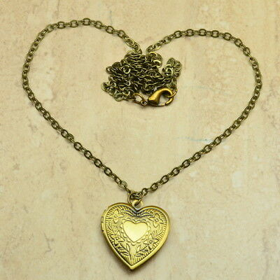 Fabulous! Antique Style Solid Copper Love Heart Locket Necklace Chains 24 1/8""
