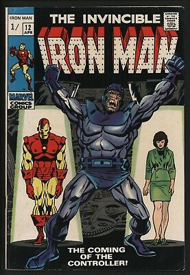 IRON MAN #12 1st CONTROLLER! NICE GLOSSY F/VF 7.0 WITH GREAT WHITE PAGES