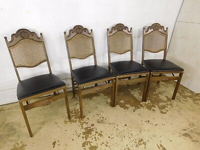 Marvelous Set 4 Fancy French Carved Padded Stakmore Folding Chairs Caraccident5 Cool Chair Designs And Ideas Caraccident5Info