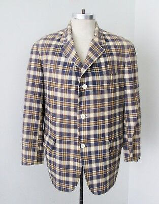 Vtg Brooks Brothers Blue Beige Madras Cotton Plaid Preppy Blazer Sport Jacket 44