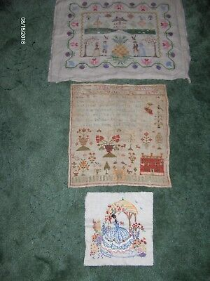 Two samplers and one embroidery-ideal for framing- £5 lot
