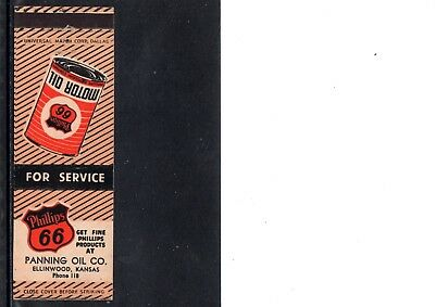 Very Early Phillips 66 Gasoline  Matchbook Cover, Ellinwood, Kansas