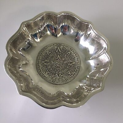Aztec Calendar Sterling Silver Footed Bowl By Plat-Mex S.A.
