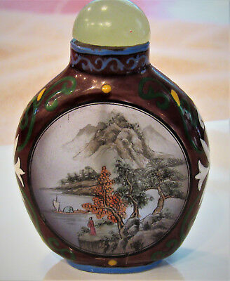 Vintage inside painted Chinese Snuff Bottle, dipper balanced upside down, hand g