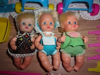 vntg 1970's Remco Sweet April dolls cribs playpen hangers clothes large lot GUC
