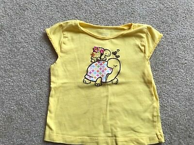Carters Toddler Girls Yellow Embroidered Turtle Short Sleeve Shirt Size 3T VGUC