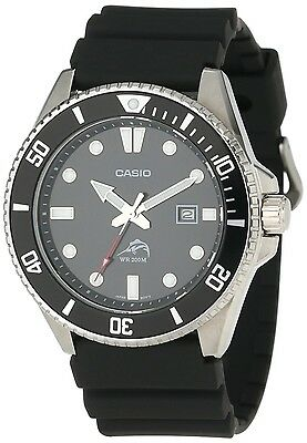 Casio MDV106-1A, Men's Analog Watch, Black Resin Band, Date, 200 Meter WR