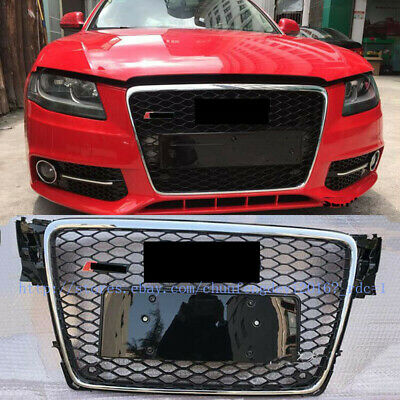 RS Style Euro Honeycomb Hex Mesh Gloss Front grill for Audi A4 S4 B8 2009-2012