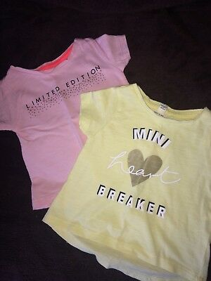 river island 2 mini girls 0-3 Months T-shirts Pink Lemon VGC Mini Heartbreaker