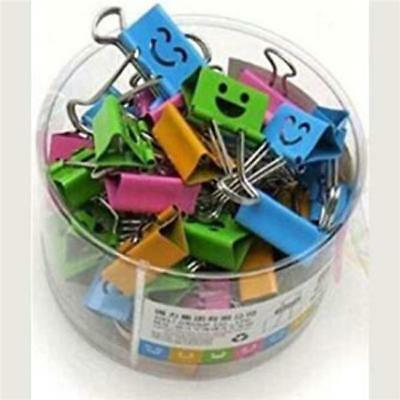 40Pcs 19mm Smile Metal Paper Binder Clips Office Organizer Assorted Colors J