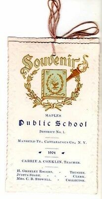 Cattaraugus Co NY Maples School Souvenir 1904 Mansfield Tp Genealogy Name Sourc