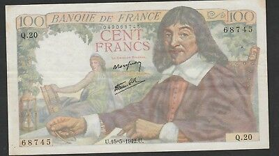 100 Francs Descartes 1942