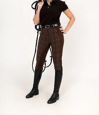 HYPERFORMANCE DENIM LOOK WITH LEATHER SEAT LADIES BREECHES BROWN HORSE RIDING