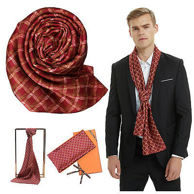 Men Shawl Double Sided Wave Print Scarf Casual Winter Warm Neck Tie Soft Scarves