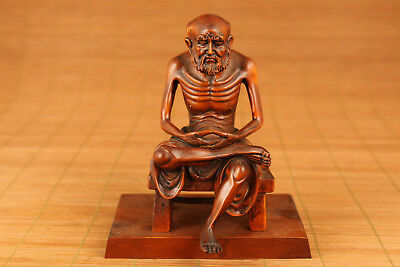 Rare Big chinese old Boxwood Hand Carved Skull Buddha Statue Figure Ornament