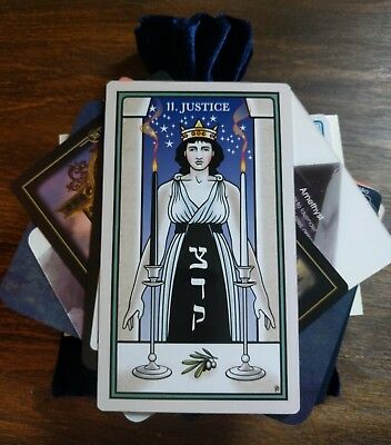 100 Mysterious MAGICAL Lot Tarot/Oracle Cards in a NAVY BLUE Velvet Bag OCCULT