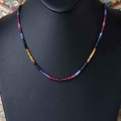 100% Natural Precious Multi Sapphire Faceted Gemstone Bead Necklace Silver Clasp