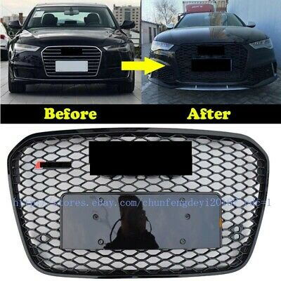 FOR AUDI A6 C7 2013-2015 RS Style Euro Honeycomb Hex Mesh Gloss Black Grill