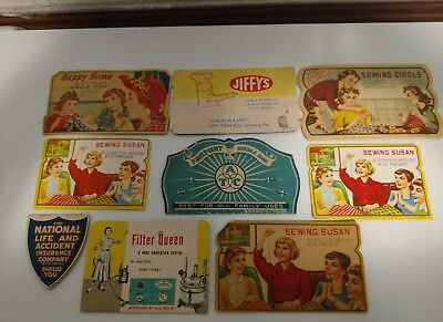 Lot of 9 Vintage Sewing Needle Books Advertising!