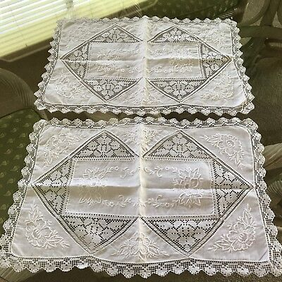 "2 Embroidered Lace Placemats Doilies Approx.11 X 17"" White"