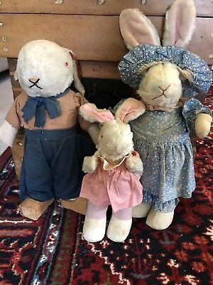 Antique Primitive Easter Bunny Rabbits Straw Stuffed Glass Eyes Dressed Mohair