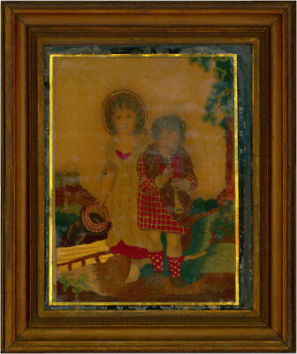Framed 19th Century Embroidery - The Child Saints