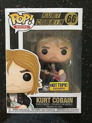 New Funko Pop Rocks Kurt Cobain Nirvana Hot Topic Exclusive Vinyl Figure #66
