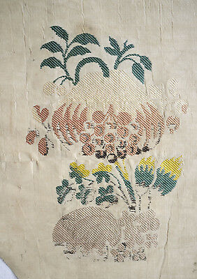Antique fragment early18th century floral silk from France