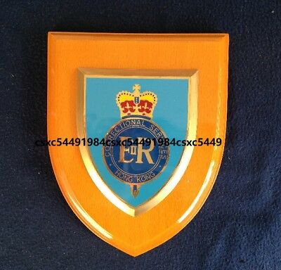Collectible British Hong Kong Correctional Services wooden plaques, pre-owned