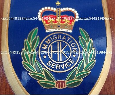 Collectible British Hong Kong Immigration Services wooden plaques, pre-owned