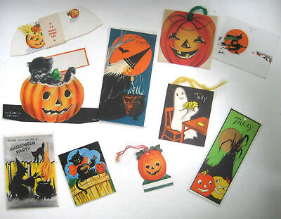 Lot of 10 Vintage Halloween Cards - Tally Greeting & Place Cards all unused